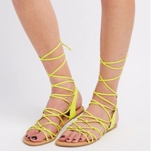 Brand new with tags Neon yellow gladiator shoes